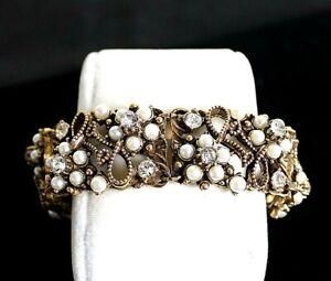 "Vintage Florenza 7.25"" Gold Tone Signed Bracelet Pearls Rhinestones"