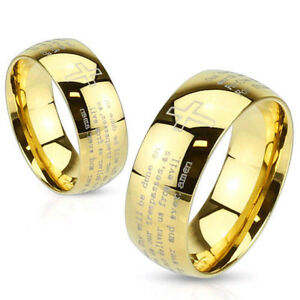 Stainless Steel Gold IP Laser Etched Lords Prayer Ring Cross Band (FL295)