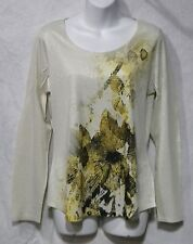 NWT Coldwater Creek Size S Sparkling Scoop Neck Long Sleeve Top Blouse