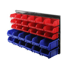 30Pcs Plastic Bins Wall Mounted Storage Boxes Workshop Warehouse Garage Tools