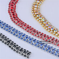 2 Yards 3-Rows Crystal Rhinestone Trims Chain DIY Sewing Decor Bling Sew On Chic
