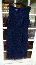 Laura Ashley New BNWT Midnight Navy Blue Party Shift Dress Lace Size 16
