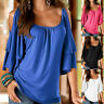 Plus Size Women Blouse Cold Shoulder Ladies Summer T Shirt Loose Casual Tops UK