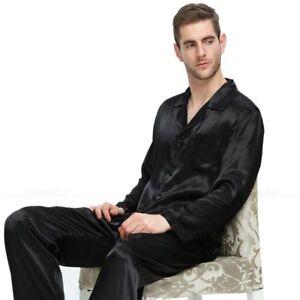 Mens Silk Satin Long Pajamas Lounge Pajamas 2PCS Set Top and Bottom Sleepwear