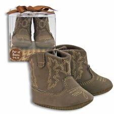Brown Baby Cowboy Boots Boy, Girl, Unisex - Faux Suede - Gift Boxed