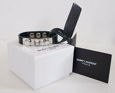 Authentic SAINT LAURENT YSL 3 CLOUS Unique Studded Black Leather Bracelet M