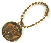 Yellowstone Souvenir Old Faithful Copper Metal Medal Key Ring Collectable USA