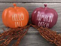 NEW Rae Dunn Halloween Baby Pumpkin Orange HELLO FALL Burgundy 🎃 Patch 2 Pc SET