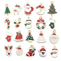 Xmas Christmas Enamel Charms Pendants Bracelet Key Ring Santa Tree Snowman Gift