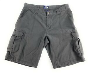 The North Face Men's Flat Front Cotton Blend Gray Outdoor Hiking Cargo Shorts 36