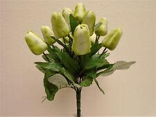 """GREEN Tulip Bush 12 Artificial Silk Flowers 15"""" Bouquet 2329GR"""