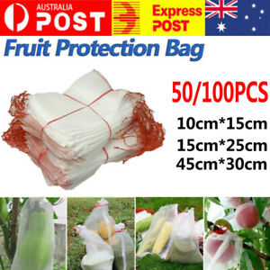 50/100 Fruit Net Bags Agriculture Garden Vegetable Protection Mesh Insect Proof