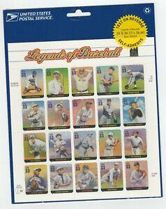 US 3408 Legends of Baseball 33c sheet P2222 (sealed) MNH 2000