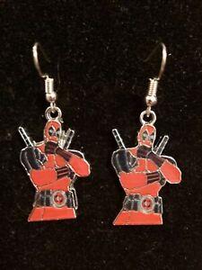 Deadpool Wade Wilson enamel charm handmade earrings silver earwires hooks