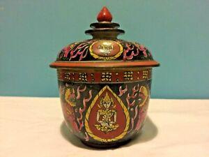 Antique Chinese Bencharong Thai Market TOH Water Jar Buddhist Lions & Thepanom