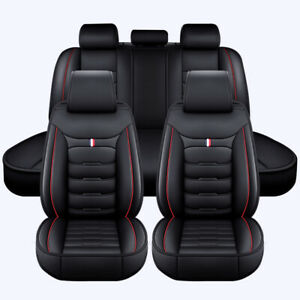 Universal 5 Seats Car Seat Covers Full Set Cushions Pu Leather Pad Black Red