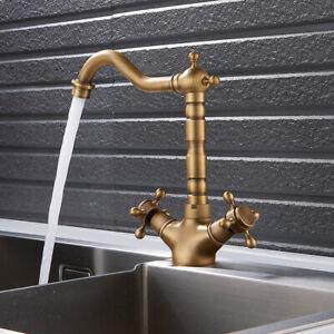 Traditional Kitchen Taps Monobloc Sink Mixer Tap Dual Lever Cross Handles //