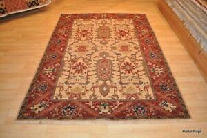 5x7 ft. TOP QUALITY rug, handmade, brick red beige gray green navy blue