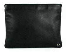 DELVAUX Black Leather Silver Logo Detail Zip Pouch Clutch Bag