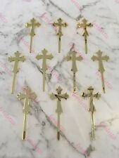10 X Cross Acrylic Gold Mirror Christening Baptism Cupcake Topper