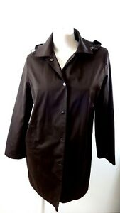 GALLERY WOMENS BROWN SNAP FRONT HOODED JACKET SIZE M SUPER CUTE
