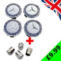 4x Mercedes Benz Alloy Wheel Centre Caps 75mm Badges Blue Hub + White Valve Caps