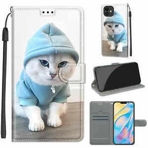 Cat Flip Wallet Case Cover For 11 12 XR S21 S9 Nokia Huawei Xiaomi OPPO ZTE Moto