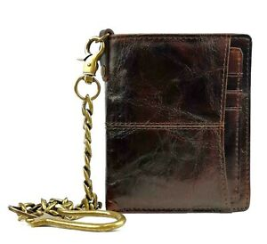 chain Wallets For Men with Removable ID Holder Mens Leather chain Bifold Wallet
