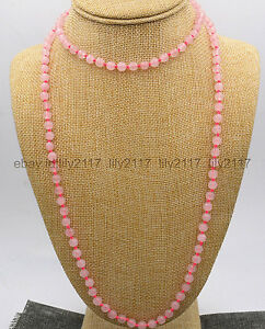 """AAA Fine natural 10mm pink rose quartz beads round Gemstone Necklace long 36"""""""