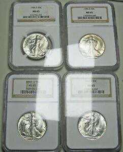 1946-S x4 Walking Liberty Half Dollar Silver ---- MS-65 NGC Slabbed ---- #009A