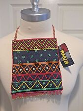 Unica Beaded Handbag & Strap, Denim Back Panel, 1 Center & 1 Rear Zipper Pocket