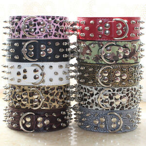 """Spiked Studded 2"""" Leather Dog Collar for Large Dog Pit Bull Mastiff sizes M L XL"""