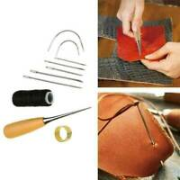 Repair Wood Waxed Thread Cord Needles Leather Craft Drilling Awl Sewing Kit Tool