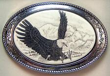 Belt Buckle Barlow Scrimshaw Carved Painted Art Western Eagle Landing 592141 NEW
