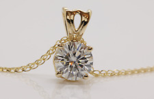 1CT MOISSANITE DIAMOND  SOLITAIRE PENDANT NECKLACE  ROUND SOLID 14K YELLOW GOLD