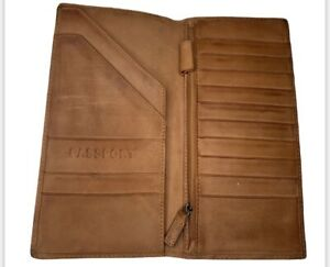 FOSSIL distressed leather Wallet Passport business card holder large
