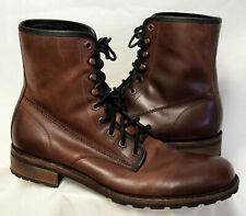 Wolverine 1000 Mile Brown Leather Lace Up Boot Lug Sole Stacked Heel-13D Ec
