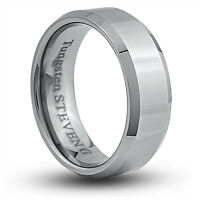 Men's 8mm Wide Tungsten Carbide Band Comfort Fit Ring Flat High Polish - TCR035