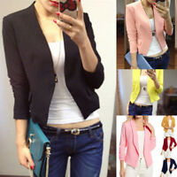 Fashion Women OL Style Nine Quarter Puff Sleeve Blazer Elegant Formal Suit Coat