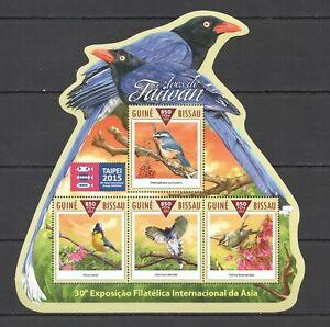 ST1070 2015 GUINEA-BISSAU BIRDS FAUNA OF TAIWAN TAIPEI ASIA KB MNH STAMPS