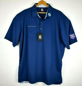 New Men's FootJoy Stretch Pique Floral Trim Polo Shirt Deep Blue 2XL