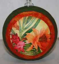 gourd oil lamp or candle with hawaiian flowers