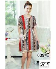 COTTON SHORT SLEEVE DRESS FITS PLUS SIZE WITH STRING (RED PRINTED)