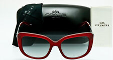 NEW COACH WOMENS SQUARE CATEYE HC8229 550311 Aubergine Grey Gradient Lens 55mm