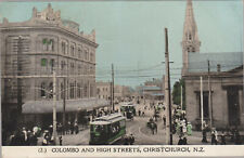PPC Colombo & High Streets Christchurch New Zealand c1910