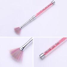 Gradient Nail Art Fan Brush Powder Remover Cleaner Pen Pink Gem Handle Manicure