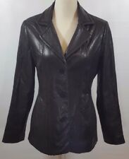 Bromley Collection Black Genuine Leather Jacket Womens Size Medium M Button Down