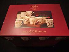 Lenox Fine China Holiday 12 Days of Christmas Mugs with Original Box