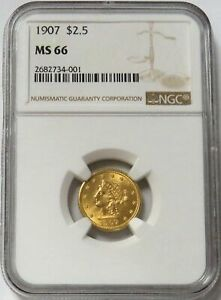 1907 GOLD LIBERTY HEAD $2.5 QUARTER EAGLE COIN NGC MINT STATE 66