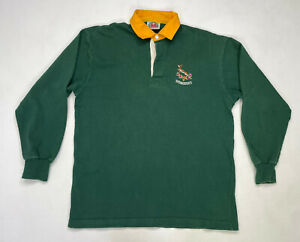 Barbarian Springboks Rugby Polo Shirt Men Adult XXL Green long Sleeve